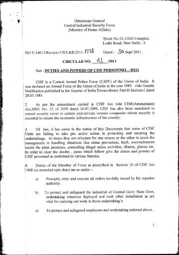 Duties and powers of CISF personnel - Central Industrial Security ...