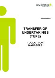 (TUPE) - Toolkit for Managers - Lincolnshire County Council