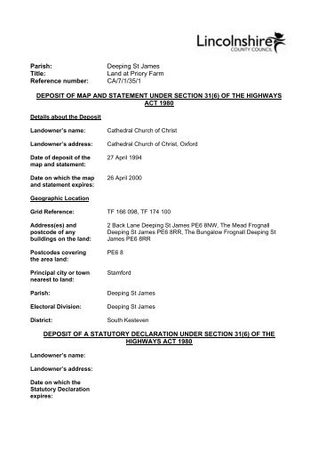 Land at Priory Farm - CA71351 - Lincolnshire County Council