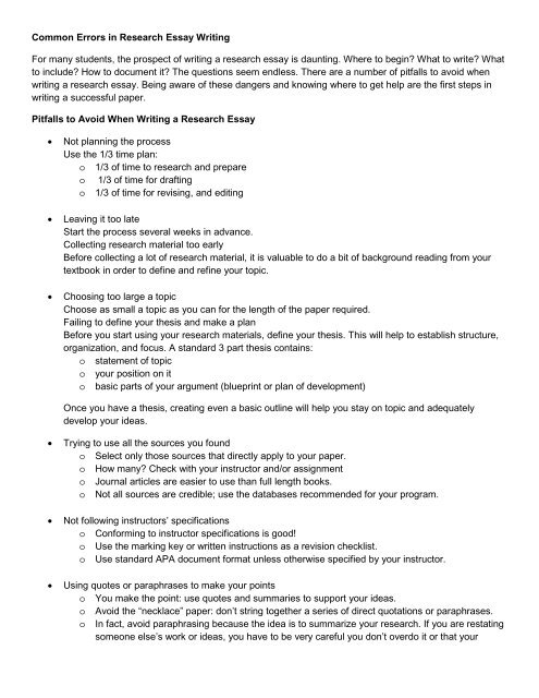 common errors in research essay writing