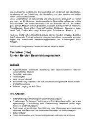 Techniker (m/w) für den Bereich Beschichtungstechnik - ARA Coatings