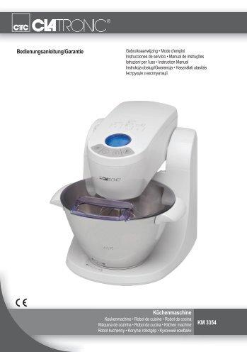 Bedienungsanleitung/Garantie Küchenmaschine KM 3354 - Clatronic