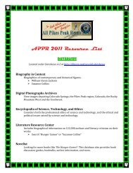 APPR 2011 Resource List - Pikes Peak Library District