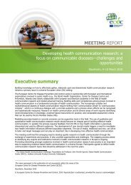 Developing health communication research - European Centre for ...