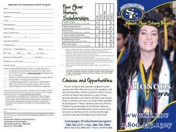 Honors Program borchure - Southeastern Oklahoma State University