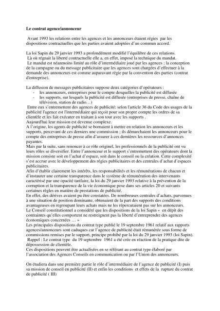 Le Contrat Agence Annonceur Bienvenue Sur Le Site Du