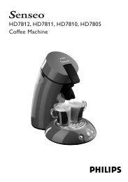 HD7812, HD7811, HD7810, HD7805 Coffee Machine - Senseo