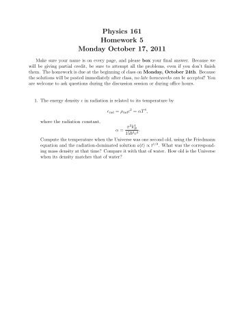 Physics 161 Homework 5 Monday October 17, 2011