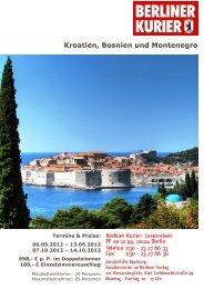 Kroatien, Bosnien und Montenegro - Leserreisen