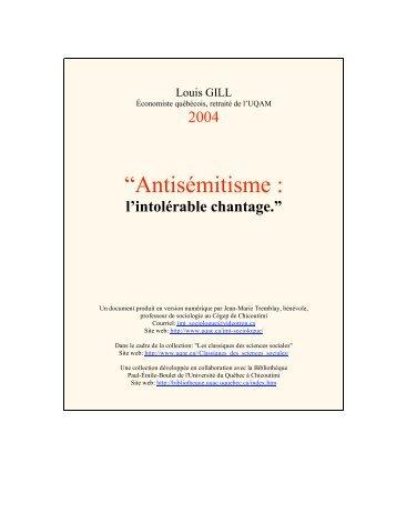 """""""Antisémitisme : - Les Classiques des sciences sociales - UQAC"""