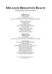 MILANOS BRIGHTON BEACH Cocktail finger food menu options ...