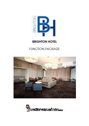 BRIGHTON HOTEL FUNCTION PACKAGE