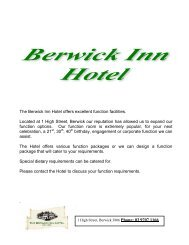 The Berwick Inn Hotel offers excellent function facilities. Located at 1 ...