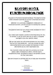 SEAFORD HOTEL FUNCTION ROOM PACK