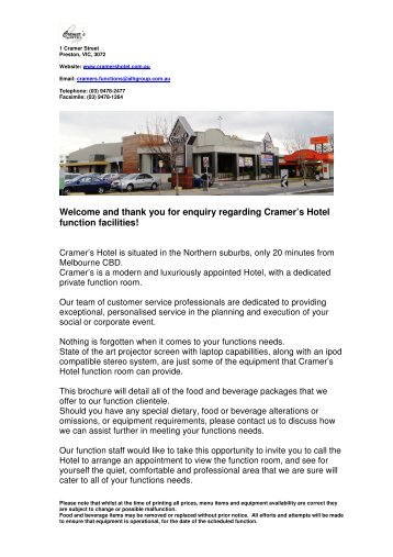 and thank you for enquiry regarding Cramer's Hotel function facilities!