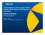 Information in the supply chain: Safety Data Sheet and ... - ECHA