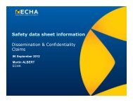 Safety data sheet information - ECHA - Europa