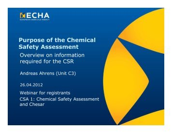 Purpose of the Chemical Safety Assessment - ECHA - Europa