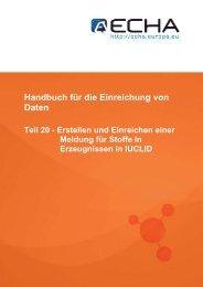 Handbuch für die Einreichung von Daten - ECHA - Europa