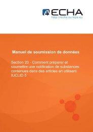 Manuel de soumission de données - ECHA - Europa