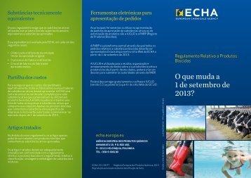 O que muda a 1 de setembro de 2013? - ECHA - Europa