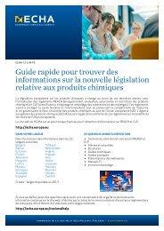 Guide rapide pour trouver des informations sur la ... - ECHA - Europa