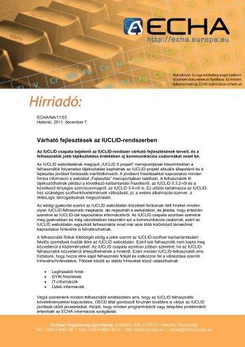 Várható fejlesztések az IUCLID-rendszerben - ECHA - Europa