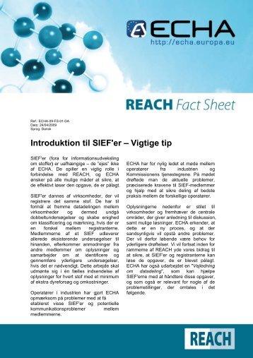 Introduktion til SIEF'er – Vigtige tip - ECHA - Europa