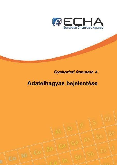 Adatelhagyás bejelentése - ECHA - Europa