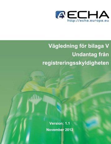 Vägledning för bilaga V - ECHA - Europa