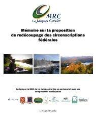 Mémoire sur la proposition de redécoupage des circonscriptions ...