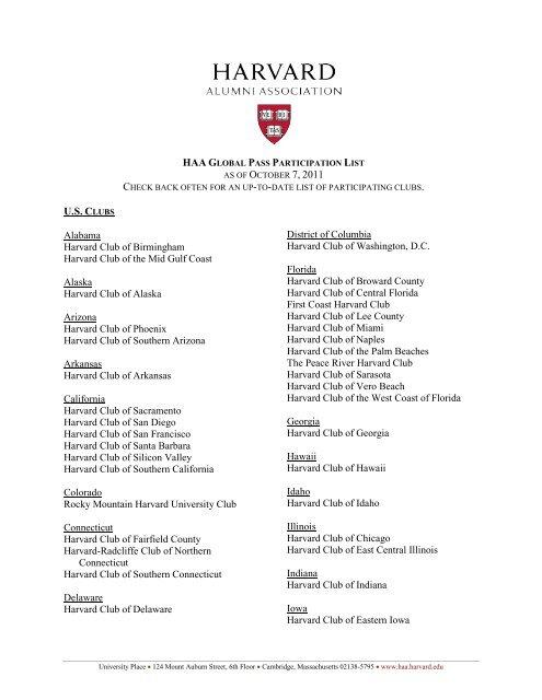 haa global membership program participation list - Harvard Alumni ...