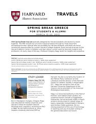 TRAVELS - Harvard Alumni - Harvard University