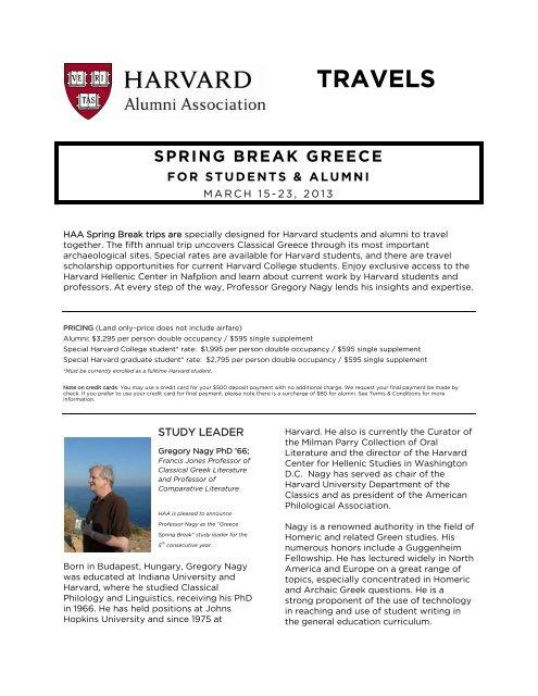 TRAVELS - Harvard Alumni - Harvard University