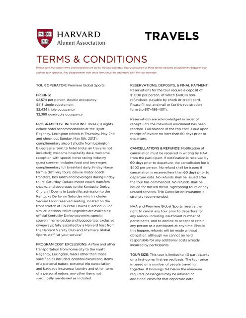 TRAVELS - Harvard Alumni