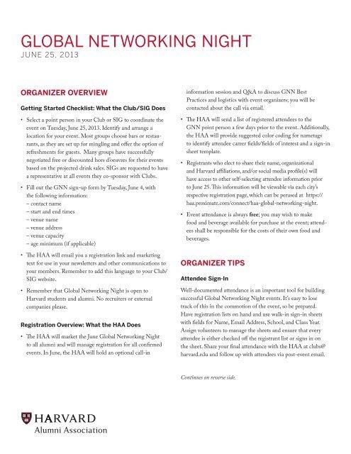 organizer tips - Harvard Alumni