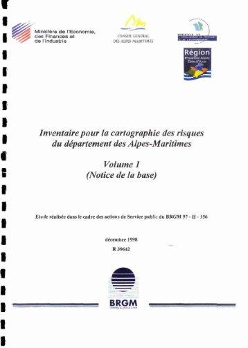 A Inventaire pour la cartographie des risques du ... - InfoTerre - BRGM