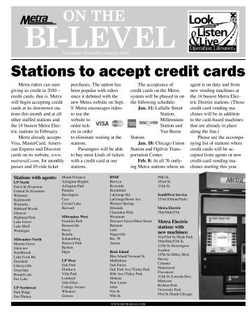 Stations to accept credit cards - Metra