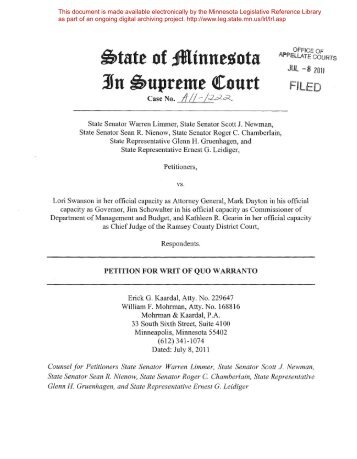 Petition for Writ of Quo Warranto - Minnesota State Legislature