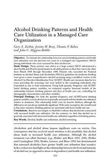 Alcohol Drinking Patterns and Health Care Utilization in a Managed ...