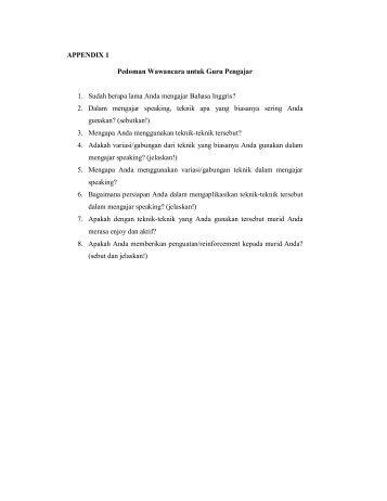 APPENDIX 1 Pedoman Wawancara untuk Guru Pengajar 1. Sudah ...