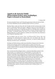 Appell an die deutsche Politik: Memorandum fordert ... - Robin Wood