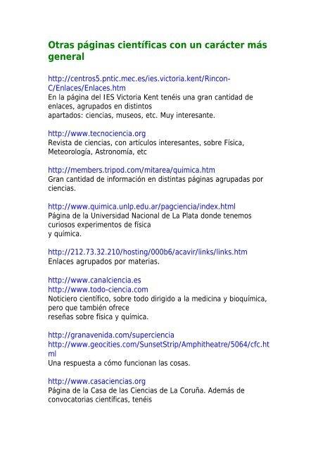 Páginas de divulgación científica
