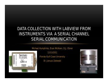 Data Collection with Labview from Instruments via a Serial Channel