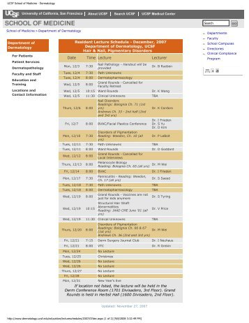 UCSF School of Medicine - Dermatology