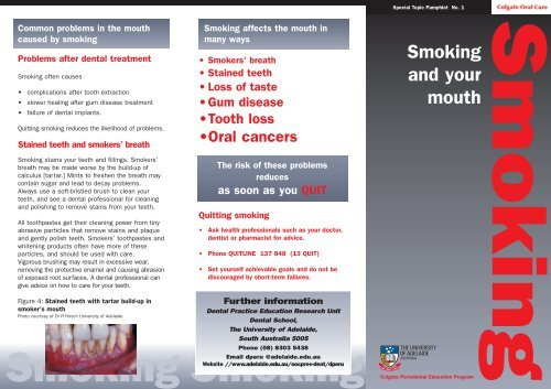 Patient Pamphlet - Smoking and your mouth - University of Adelaide