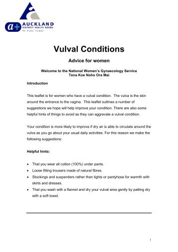 Vulval Conditions - National Women's Hospital