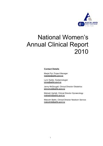 National Women's Annual Clinical Report 2010