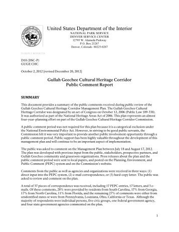 Management Plan Public Comment Report - Gullah Geechee Corridor