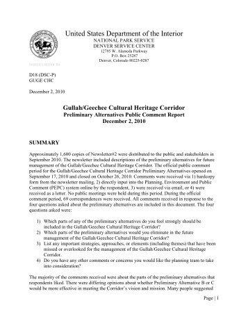 Public Comment Report - Gullah Geechee Corridor